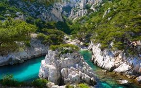 Picture greens, mountains, rocks, vegetation, France, river, Marseille