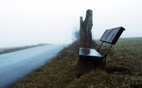 Picture road, fog, bench