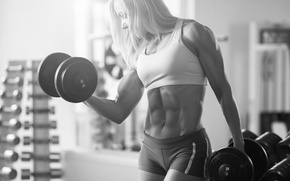 Picture bodybuilder, pose, muscles, abs, female