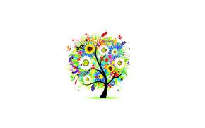 Wallpaper butterfly, flowers, tree, chamomile, tulips, buds, heart