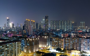 Picture Hong Kong, megapolis, skyscrapers, street, home, lights, China, night