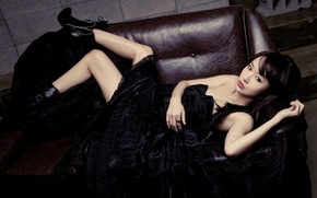 Picture LOOK, DRESS, SOFA, BLACK, BOOTS, ASIAN