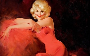 Picture look, hands, hairstyle, painting, red dress, canvas, chic, Edward Runci