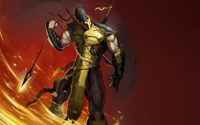Picture fire, flame, Scorpio, ninja, scorpion, mortal kombat