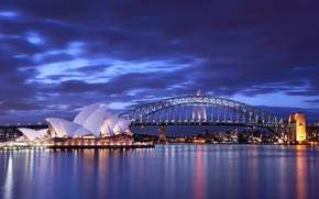 Picture sea, the sky, clouds, bridge, lights, the evening, lighting, Australia, Bay, Sydney, blue, Opera House