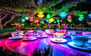 Picture trees, lights, Park, the evening, hdr, Cup, lanterns, tea party