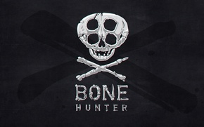 Picture background, black, skull, bones, bone hunter