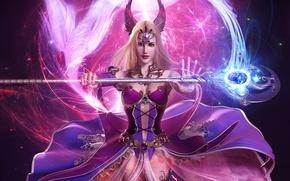 Picture girl, magic, staff, fantasy