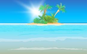 Picture sea, wave, palm trees, island, waves, sea, the sun's rays, island, sun, palm trees