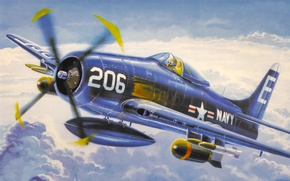 Picture fighter, war, art, airplane, painting, aviation, attacker, F8F Bearcat