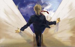 Picture the sky, costume, tie, guy, art, prince of tennis, from the back, rihito takari, kuranosuke …