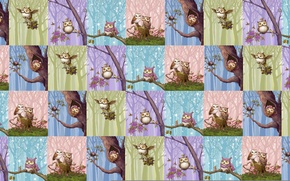 Picture children's, background, texture, art, owl