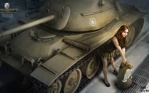 Picture girl, hangar, tank, girl, tanks, WoT, World of tanks, tank, World of Tanks, tanks, Wargaming.Net, …
