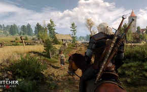 Picture the sky, trees, horse, field, the Witcher, Geralt of Rivia, The Witcher 3: Wild Hunt, …