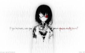 Picture sadness, rain, mood, paint, blood, Girl, headband, quote, Another, Misaki Mei, misaki mei, Other