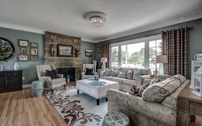 Wallpaper design, sofa, carpet, pillow, fireplace, living room