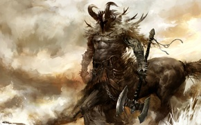 Picture weapons, mask, horns, Guild Wars 2, centaur, muscles