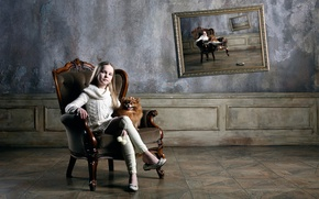 Picture picture, chair, girl, dog