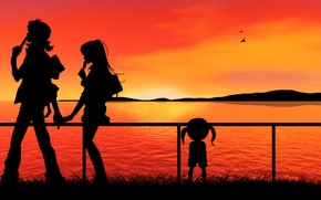 Picture water, girl, love, sunset, guy