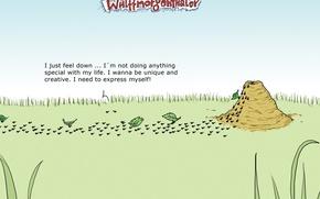 Wallpaper humor, caricature, ants, Wulffmorgenthaler