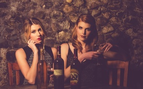 Picture table, background, girls, wine, restaurant, bottle, Andrea, Rachel