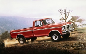 Wallpaper road, the sky, red, Ford, dust, Ford, classic, pickup, f-150, F-150, Ranger, 1978, Ranger