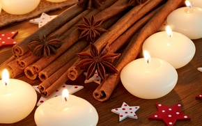 Picture sticks, candles, cinnamon, stars, spices, star anise, Anis, Illicium