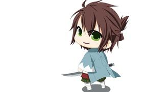 Picture katana, white background, guy, cloak, Chibi, art, green eyes, Demons pale cherry, Okita Souji, Hakuouki …
