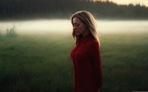 Picture sadness, field, girl, light, sunset, reverie, model, portrait, the evening, shirt, brown hair, weather, red, ...