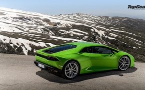 Picture Lamborghini, Top Gear, Green, Road, Supercar, Rear, Huracan, LP610-4