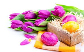 Picture flowers, holiday, eggs, spring, Easter, tulips, lilac, Easter