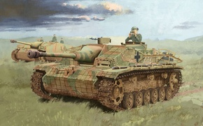 Picture the commander, war, art, III, German, installation, Storm protections, Ausf.G, zimmerit, self-propelled artillery, disguise, field, …