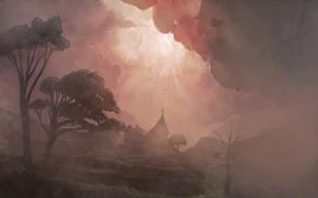 Wallpaper trees, fog, Figure, Church
