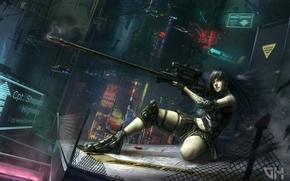 Wallpaper weapons, mesh, art, rifle, Vadim Marchenkov, the city, lights, girl, night