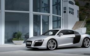 Picture house, Audi, Audi, the building, mountain, white, sports, luxury, 2007, celebrita