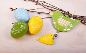 Picture branches, holiday, bird, heart, eggs, Easter, figures, Easter, eggs