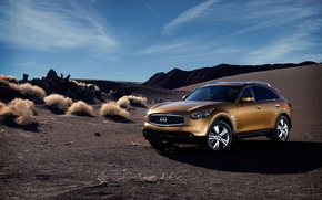 Wallpaper the sky, rocks, desert, infiniti, fx35, fx50