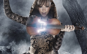 Picture look, night, the moon, violin, music, violin, Lindsey Stirling, Lindsay Stirling