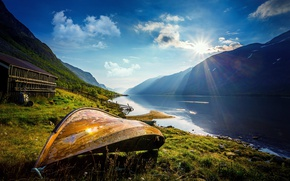 Picture the sun, mountains, lake, dawn, boat, Norway, Norway, Vaga Kommune, County Of Oppland, Norway