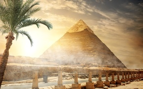 Wallpaper road, the sky, the sun, clouds, Palma, stones, the fence, pyramid, Egypt, Cairo