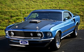 Picture road, grass, 1969, Super Cobra Jet, Ford Mustang 428