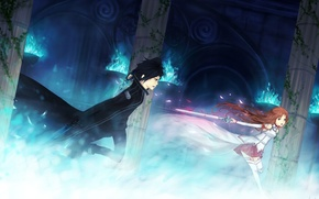 Wallpaper girl, weapons, fire, magic, sword, columns, guy, the battle, art, sword art online, yuuki asuna, ...