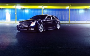 Picture Cadillac, CTS, Car, Front, Black, Tuning, Vossen, Wheels, CV7