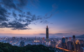 Picture the sky, clouds, sunset, the city, lights, hills, view, building, tower, height, home, the evening, …