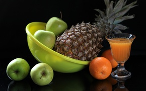 Picture Apple, orange, juice, pineapple, still life