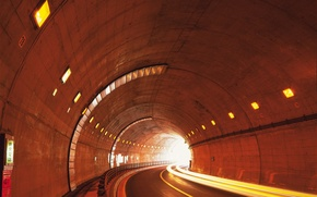 Picture road, lights, The tunnel