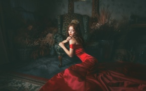 Picture girl, face, room, red, dress, East