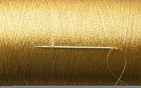 Picture gold, thread, needle, reel