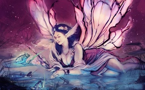 Picture eyes, look, girl, decoration, face, hair, frog, wings, crown, dress, fairy, painting, legit