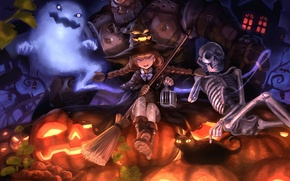 Wallpaper cat, hat, skeleton, broom, girl, Golem, art, cast, pumpkin, Halloween, Halloween, witch, damin, cat